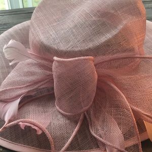Nordstrom Netted Pink Bow and Feather Hat NWOT
